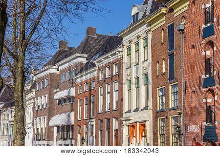 GRONINGEN, NETHERLANDS - FEBRUARY 15, 2017: Old warehouses in the historical city center of Groningen, Holland