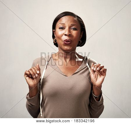 Happy surprised black woman