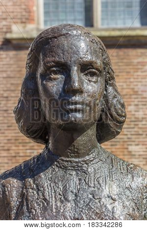 UTRECHT, NETHERLANDS - APRIL 09, 2017: Head of the statue of Anne Frank in Utrecht, Netherlands