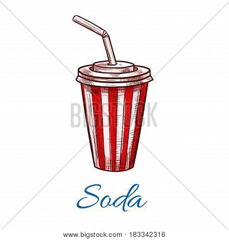 Soda drink sketch in fast food paper cup with plastic lid and drinking straw. Vector red and white stripes traditional fastfood juice drinks and soda beverages design for takeaway or delivery menu