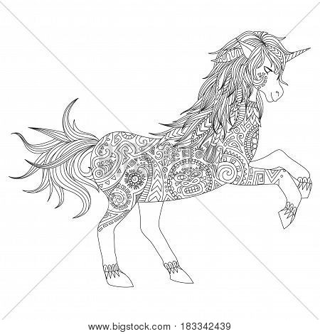 Jumping unicorn aztec style, can be used for t shirt design, print on products, adult or kids coloring book pages. Vector illustration