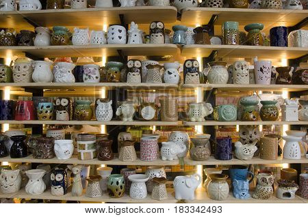 Ceramic Art Shop Show For Sale Thai People And Foreigner Travelers Shopping And Visit At Chatuchak W