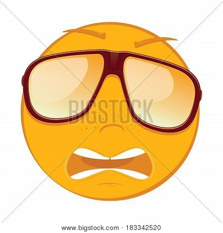 Cute scared emoticon in a sunglasses on white background. Vector illustration.