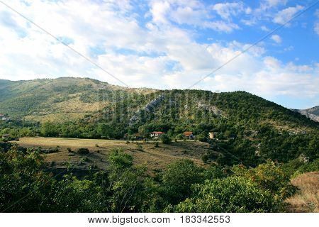 Mountains in Montenegro. Village in Montenegro, Europe