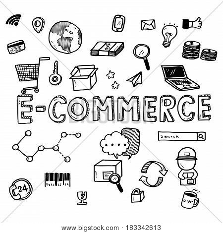 Hand Draw Business Doodles E-commerce Icons And Words Set On White Background.concept For Business I
