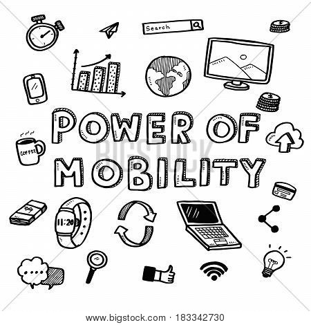 Hand Draw Business Doodles Power Of Mobility Icons And Words Set On White Background.concept For Bus