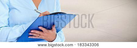 Business woman hands writing clipboard
