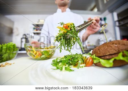 Chef putting fresh vegetable salad on plate for client