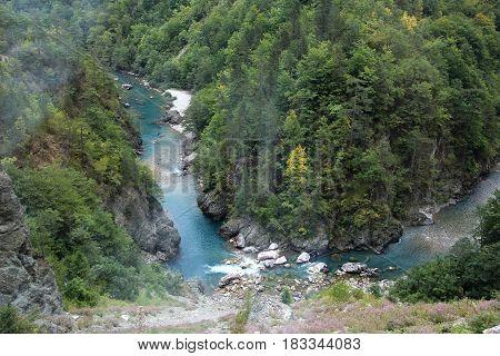 River Tara. Canyon river Tara. Beautiful nature in Montenegro