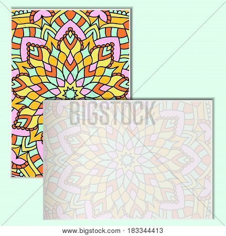 Vintage leaflets with mandala pattern on turquoise background. Rectangular postcards with an unusual oriental pattern. A place for your advertising. Vector illustration.