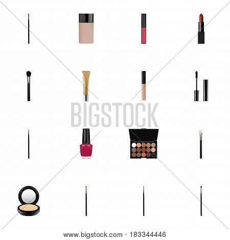 Realistic Eyelashes Ink, Powder Blush, Cover And Other Vector Elements. Set Of Greasepaint Realistic Symbols Also Includes Makeup, Contour, Brush Objects.