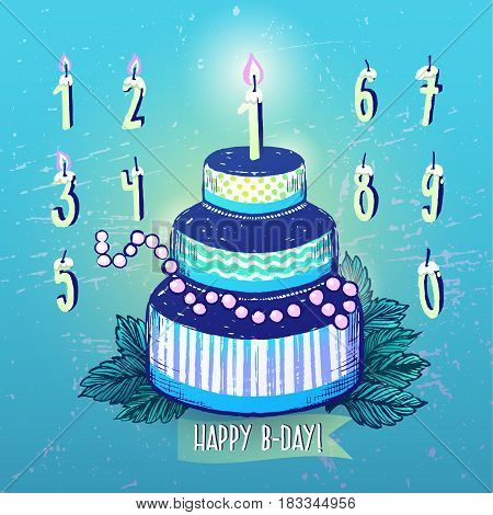 Ink hand drawn Happy Birthday Cake and Candles numbers set. Happy Birthday Cake and Candles numbers in blue color scheme