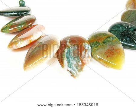 jasper semiprecious mineral jewellery beads isolated on white background