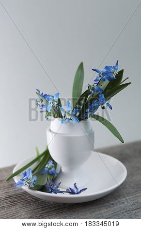 Easter Holiday Background With Flowers In Egg-cup
