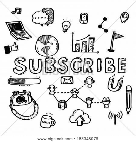 Hand Draw Business Doodles Subscribe Icons And Words Set On White Background.concept For Business Id