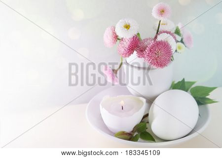 Easter Daisies In Eggcup Card With Space For Text