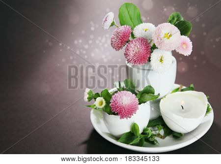 Easter Holiday Still Life With Daisies In Eggcup