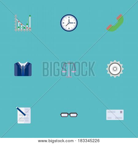 Flat Contract, Clock, Cogwheel And Other Vector Elements. Set Of Career Flat Symbols Also Includes Costume, Cogwheel, Eyeglasses Objects.