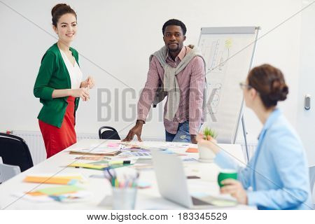 Group of businesspeople preparing reports for conference