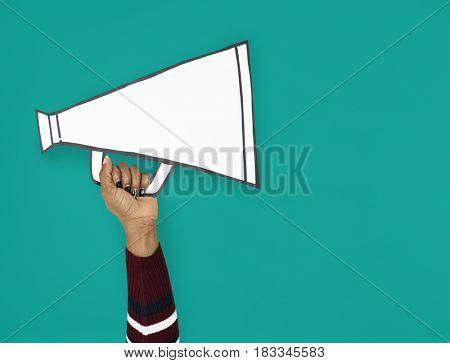 Hand Up Holding megaphone Illustration