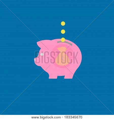 Piggy bank icon. Chart. Saving money. Vector illustration. Eps 10.