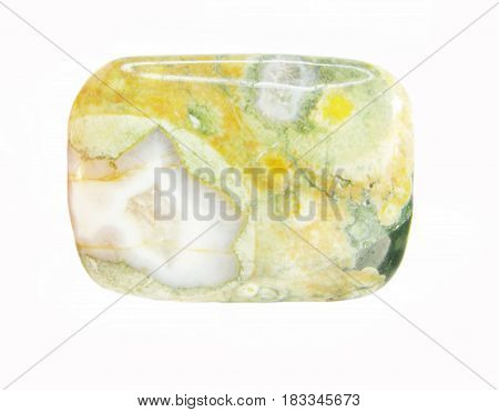 green and yellow jasper mineral crystal isolated