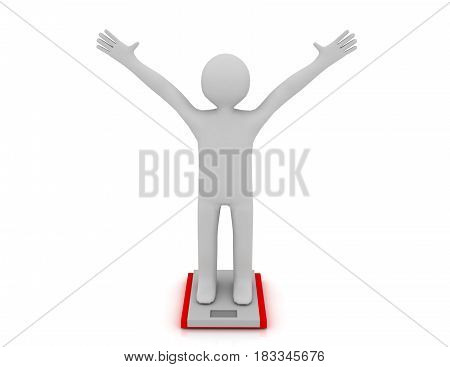 White People With Ideal Weight And Scale. Rendered Illustration