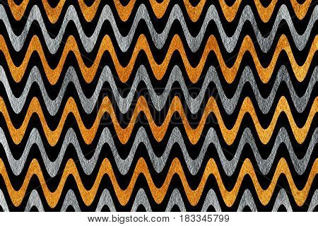 Silver And Golden Painted Stripes Background, Chevron.