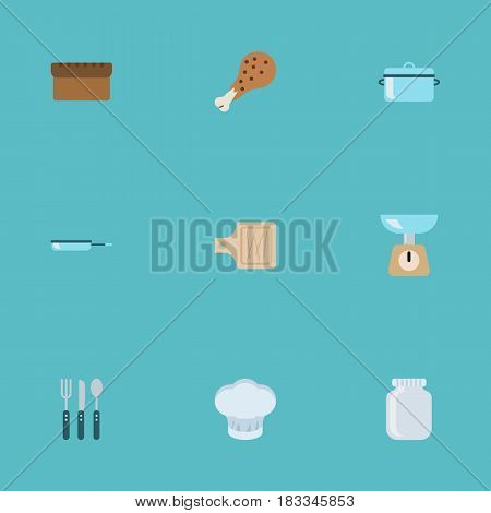 Flat Breadboard, Glass Container, Kitchen Measurement And Other Vector Elements. Set Of Cooking Flat Symbols Also Includes Spoon, Cutting, Loaf Objects.