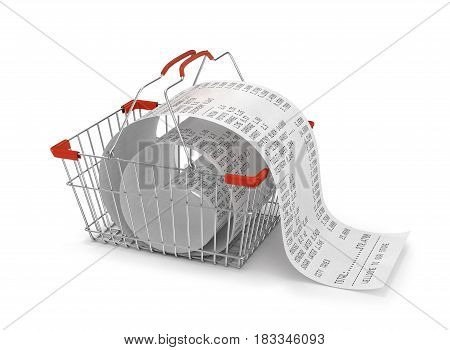 shopping backet with store paper receipt isolated 3d illustration. shopping concept