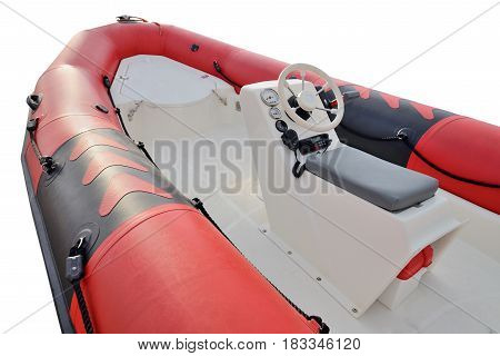 inflatable motor boat isolated on white background