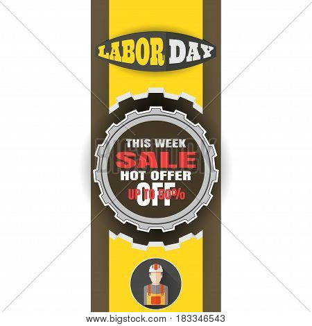 Vector banner of Happy Labor Day sale with label of gear cut from paper yellow paper stripe on the brown background.