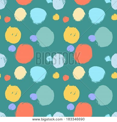 Vector seamless pattern. Colorful round brush strokes. Grunge hand drawn abstract circles. Geometric doodle wallpaper. Polka dot on blue green background.