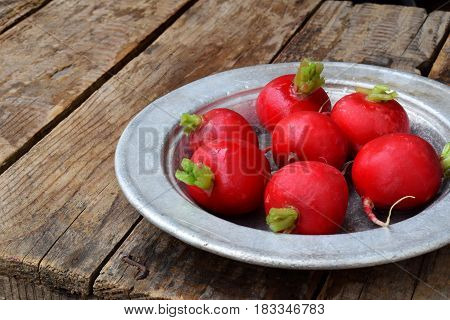 Fresh Red Radish For Salad On Wooden Background. Healty Food.