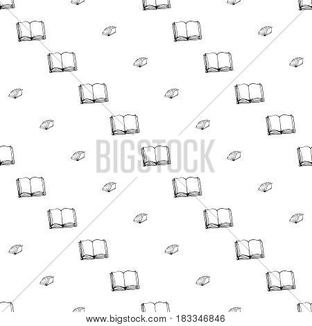 Seamless vector doodle pattern with diagonal rows of books. Hand drawn sketchy background. Reading and education concept.