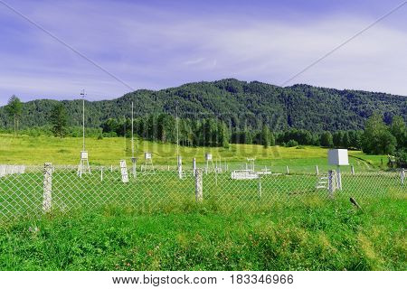 Russia Siberia. Old weather station in Mountain Altai Yaylu settlement