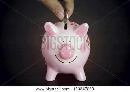 hand put money coin on pink piggy bank on dark and black background concept in save and investment in business