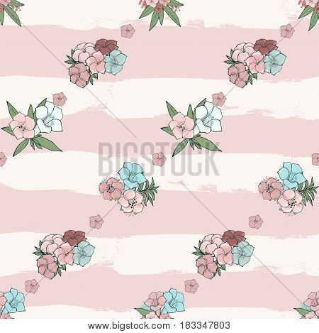 Vector gentle seamless pattern. Exotic pink and blue flowers on striped background. Floral wallpaper. Textile design
