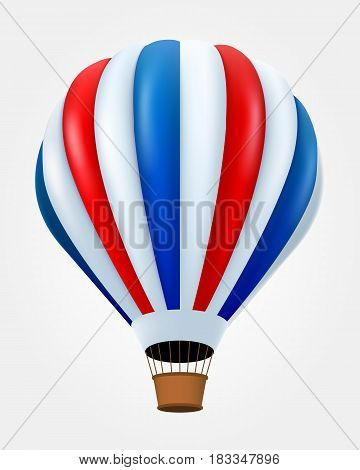 Hot air balloon in flight isolated on white. Vector illustration