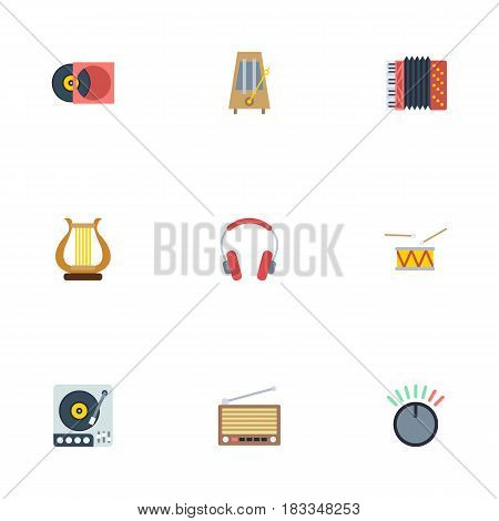 Flat Knob, Harmonica, Lyre And Other Vector Elements. Set Of Melody Flat Symbols Also Includes Vinyl, Knob, Control Objects.