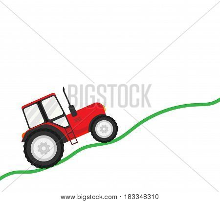 Trial tractor isolated on white background. Vector illustration. Eps 10.