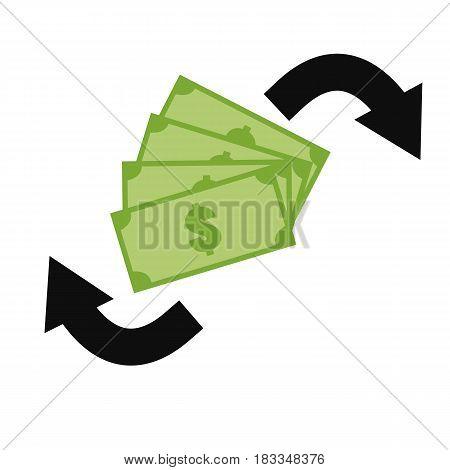 money exchange icon on white background. money exchange green sign.