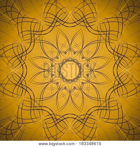 Centripetal ornamental openwork composition. Ornamental ornate pattern of curved lines. Raster illustration. poster