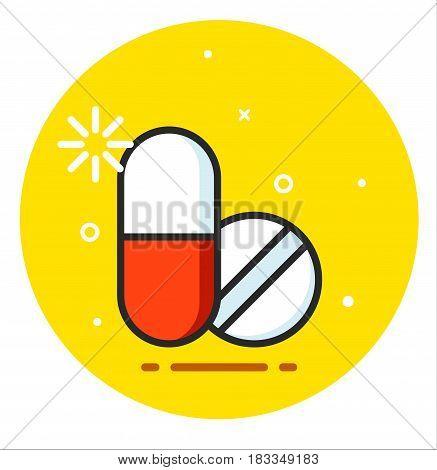 Pill medical icon illustration design art vector