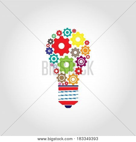light bulb with gears icon isolated on white background. Vector illustration. Eps 10.
