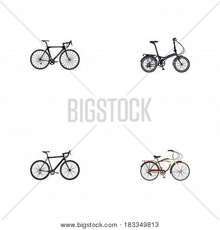 Realistic Folding Sport-Cycle, Exercise Riding, Journey Bike And Other Vector Elements. Set Of Bike Realistic Symbols Also Includes Bicycle, Bike, Folding Objects.