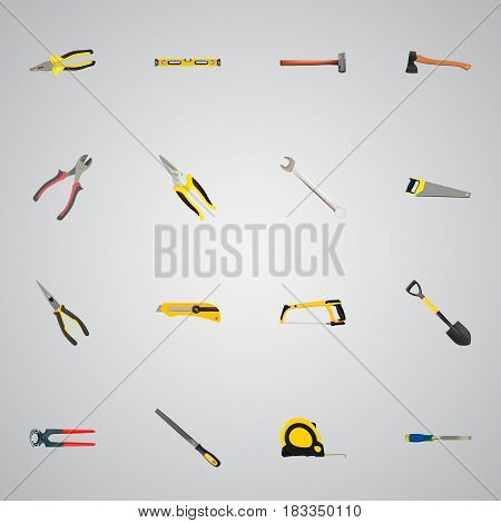 Realistic Nippers, Hacksaw, Carpenter And Other Vector Elements. Set Of Construction Realistic Symbols Also Includes Forceps, Key, Roller Objects.