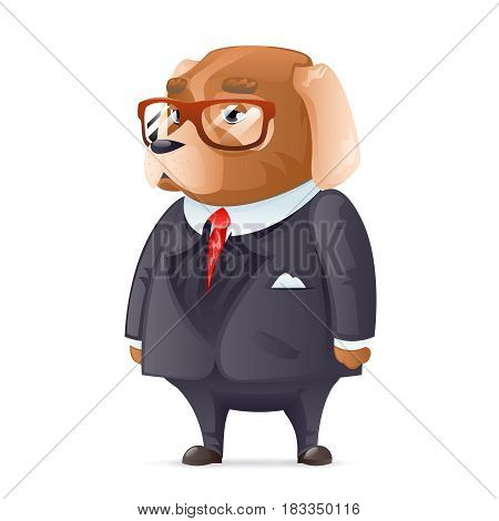 Dog boss fashionable business suit good boy glasses character design cartoon vector illustration