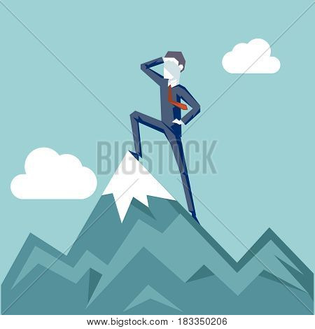 Businessman Character Achievement Top Point Goal Mountain clouds Background Business concept Flat Design Vector Illustration
