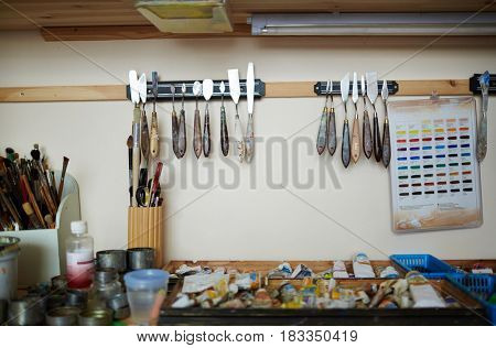 Collection of artistry objects and tools in workroom